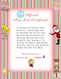 Santas Nice List Certificate